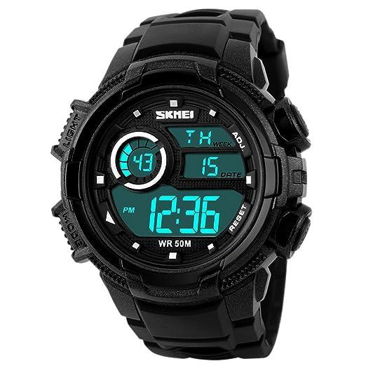SKMEI - Relojes Digitales Impermeable Reloj Electrónico Deportivo Resistente a Agua Watch Waterproof con Doble Horarios Movimiento Multifunciones Alarma ...
