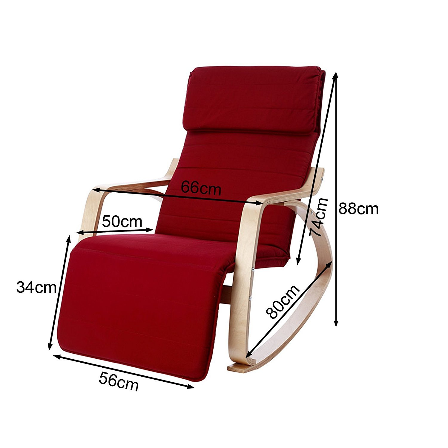 Haotian Comfortable Relax Rocking Chair with Foot Rest Design, Lounge Chair, Recliners Poly-cotton Fabric Cushion FST16 (black) by SoBuy (Image #3)