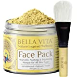 Bella Vita Organic Turmeric Face Pack For Glowing Skin With Sandalwood & Rose, Ayurvedic 60 g