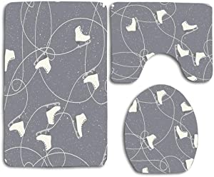 NEWcoco 3-Piece Bathroom Set Bath Mat Rug Lid Toilet Covers Toilet Seat Cushion Decor Non-Slip Ice Skating Boots and Ice Trails On A Snowy Grey Background