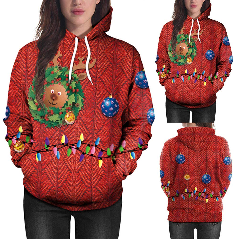 bauycy Damen Sweatshirt Frau Hoodie Weihnachten Langarm