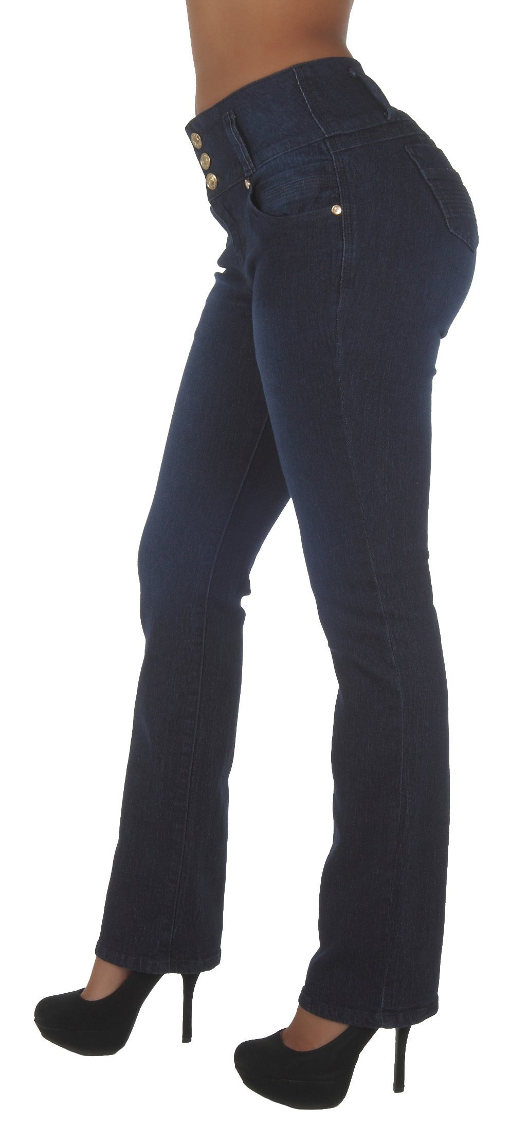 Fashion2Love N452BT-P– Plus Size, Butt Lifting, Levanta Cola, High Waist, Boot Leg Jeans in Navy Size 14