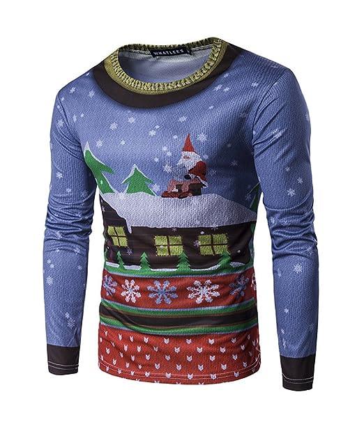 Manga Larga Deportivas Blusa Hombre Camisa Baratas Suéter Navidad Camisetas Superior XL: Amazon.es: Ropa y accesorios
