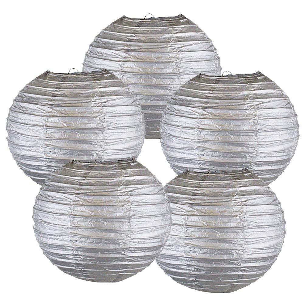 Just Artifacts ペーパーランタン5点セット - (6インチ - 24インチ) 16inch AMZ-RPL5-160004 B01CEXC7J2 16inch|シルバー シルバー 16inch