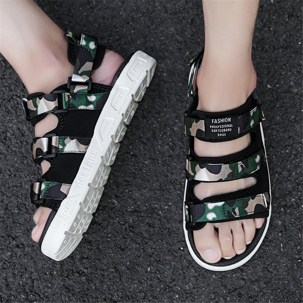 Qingqing Männer Schuhe Offene Kappe Casual Comfort Schuhe Männer Rutschfeste Verstellbare Sandalen geeignet für Innen- und Outdoor-Freizeit-Sport Herren LederSandale geschlossen Schweißabsorbiere Camouflage af1184