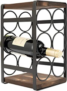 SOPRETY 6 Bottle Wine Rack Stand Countertop, Naturel Wood and Stainless Steel, 3-Tier Wine Bottles Organizer Holder Shelf, No Assembly for Living Room, Bedroom, Kitchen and Office, Vintage, Black