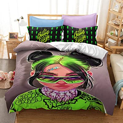 EVDAY Billie Eilish Duvet Cover Set Super Soft Microfiber Fashion 3D Pattern Printing Girls Boys Bed Set 3Piece Including 1Duvet Cover,2Pillowcases Twin Size: Home & Kitchen