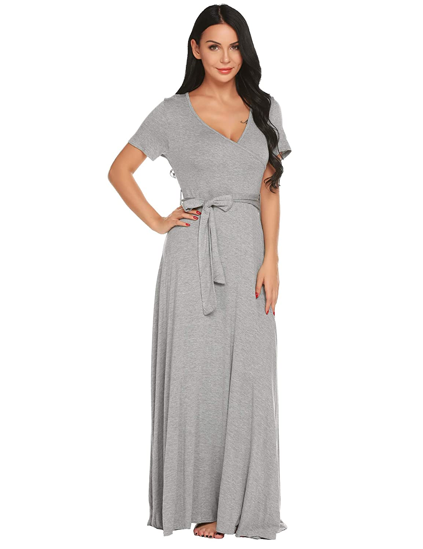 335c75655d779 Ekouaer Womens Maternity Maxi Dress Short Sleeve V Neck Nursing Nightgown  Breastfeeding Sleepwear S-XXL