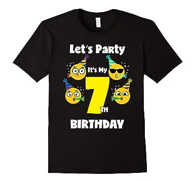 Mens Emoji Birthday Shirt 7 Seven Year Old Girl Boy Toddler Cute 2XL Black