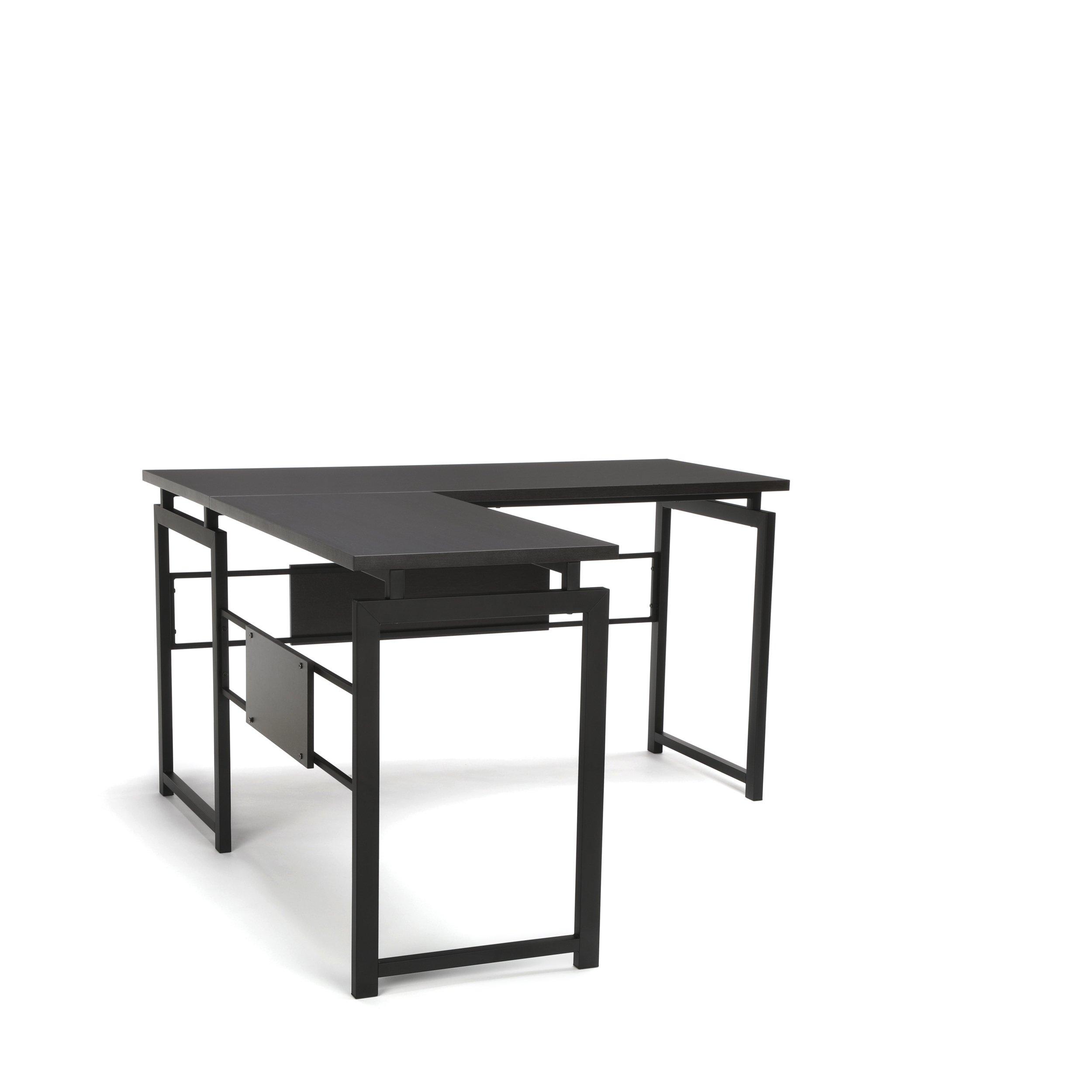 OFM L-Shaped Desk - Corner Computer Desk with Metal Legs, Black (ESS-1020-BLK)