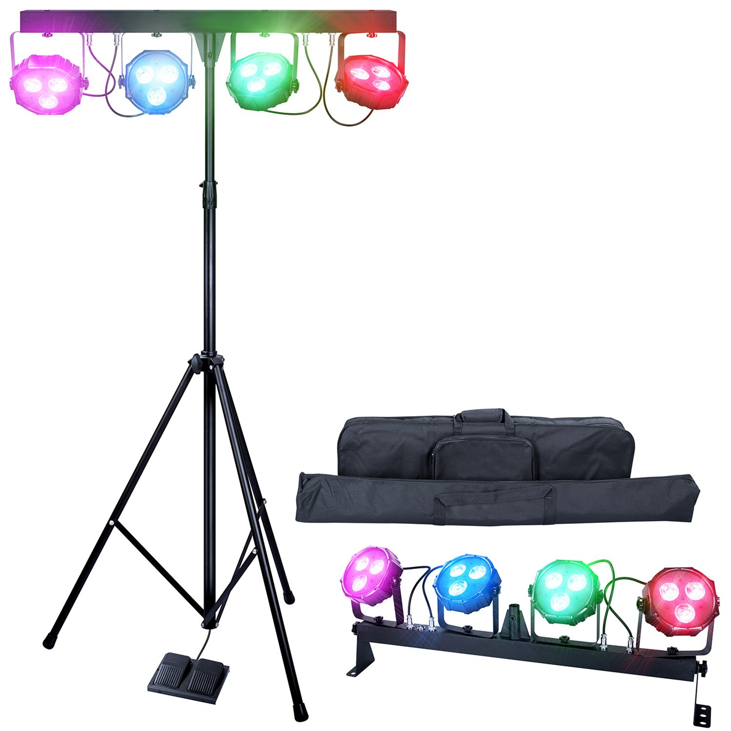 DragonX 4 Bar LED mobile DJ Stage Lighting Package/108W Portable RGB Par Can Kit Gig Spotlight Bar Set/Sound Activated Flex Wash Light Party System W/Stand by DragonX