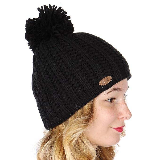 8c6a899c520920 C.C Double Layer Fluffy Pompom Beanie Hat Black at Amazon Women's ...