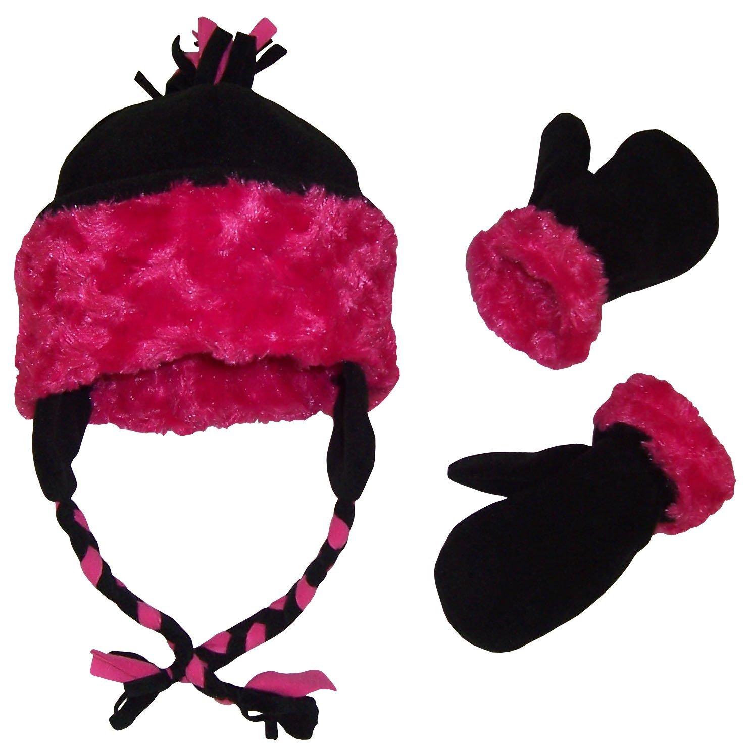N'Ice Caps Girls Velboa Lined Micro Fleece Accessory Set (18-36 Months, Black/Fuchsia)