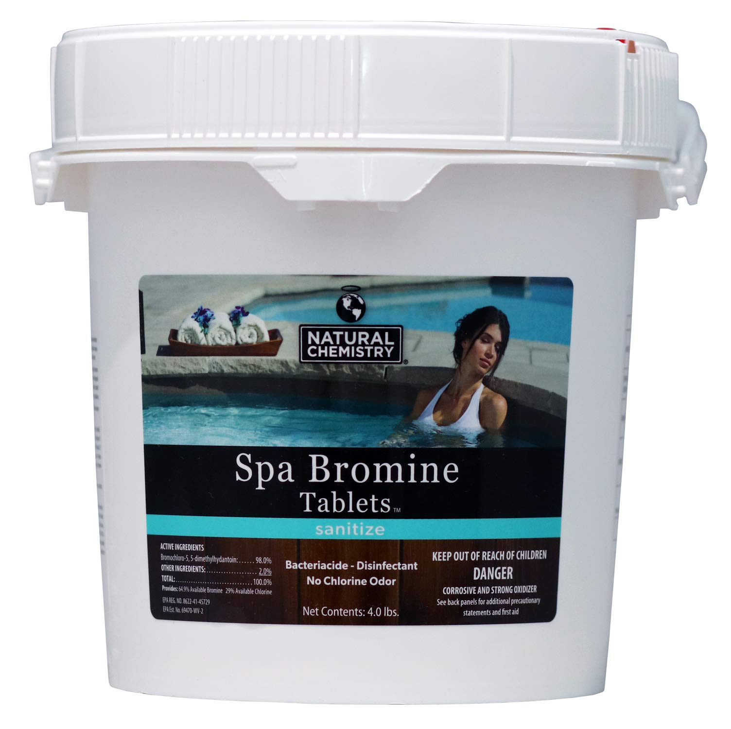 Commercial Pool Parts Natural Chemistry Bromine Tablets 4 LB for Hot Tub & Spa - Bacteriacide Disinfectant - No Chlorine Odor - 04210 04110 by Commercial Pool Parts