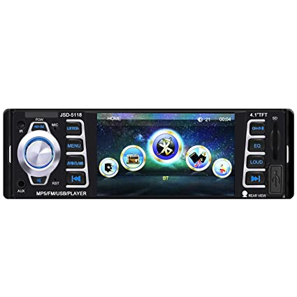 amazon com car stereo,single din car radio,4 1 inch screencar stereo,single din car radio,4 1 inch screen bluetooth car audio stereo receiver