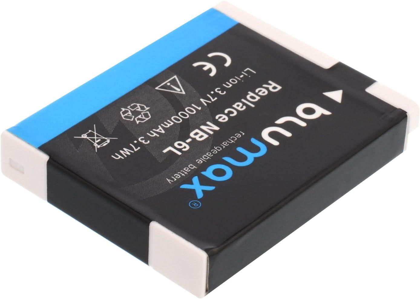 kompatibel mit Canon PowerShot D30 SX170 SX240 SX260 SX270 SX280 SX500 SX510 SX520 SX530 SX540 SX600 SX610 SX700 SX710 S90 S95 S120 S20 Blumax Akku f/ür Canon NB-6L 1000mAh