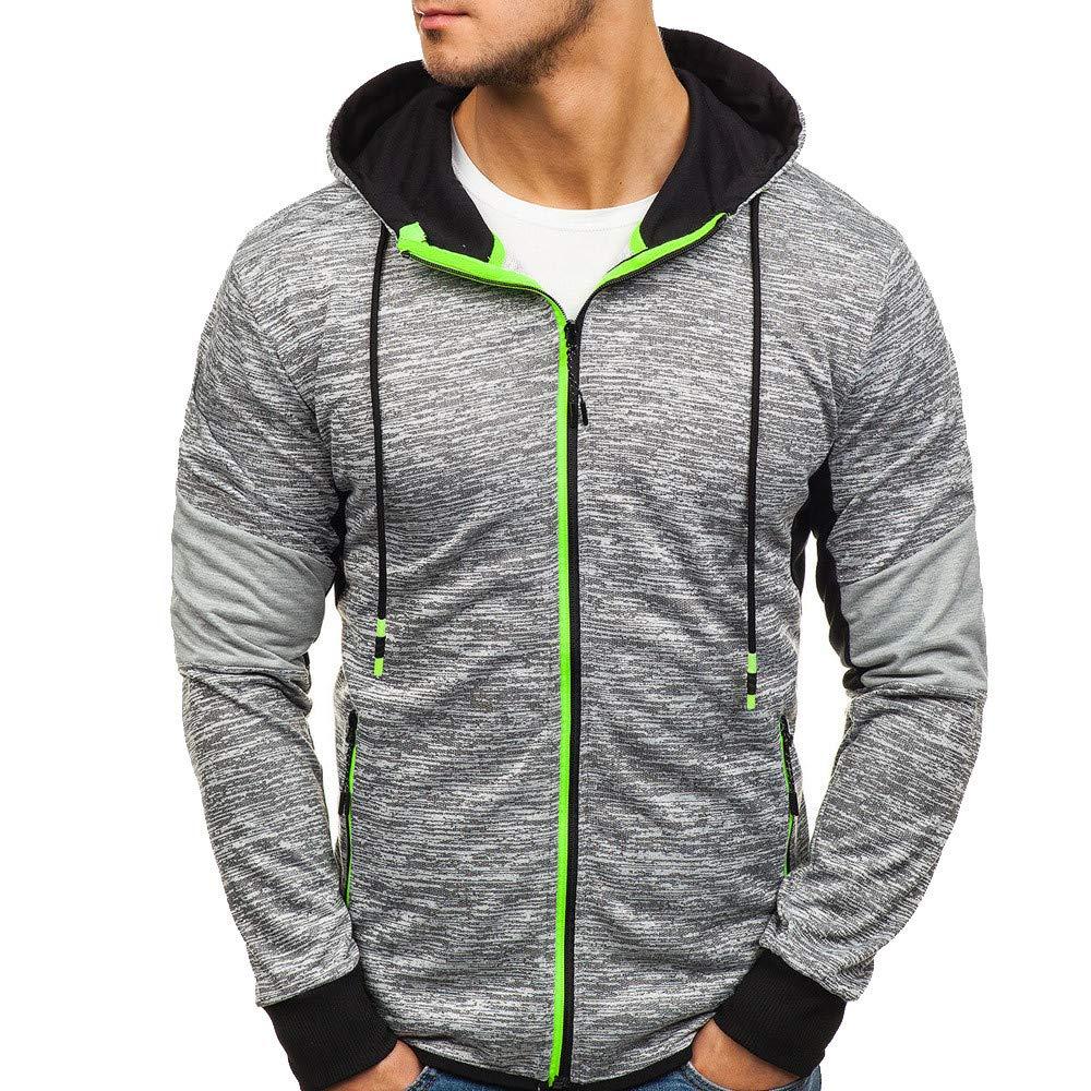 Clearance Deals Men Sweatshirt BeautyVan Men Casual Winter Zip Hoodie Slim Pocket Fit Tops Jacket Coats