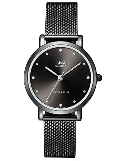 Reloj de moda para mujer negro ionizado Q&Q by Citizen QA21J402Y