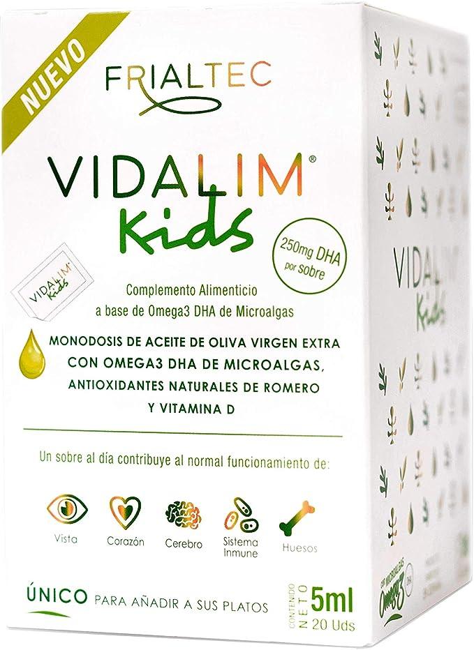 Vidalim Kids - Omega 3 de microalgas (250mg DHA/sobre) en Aceite de Oliva. Sin cápsulas: Amazon.es: Salud y cuidado personal