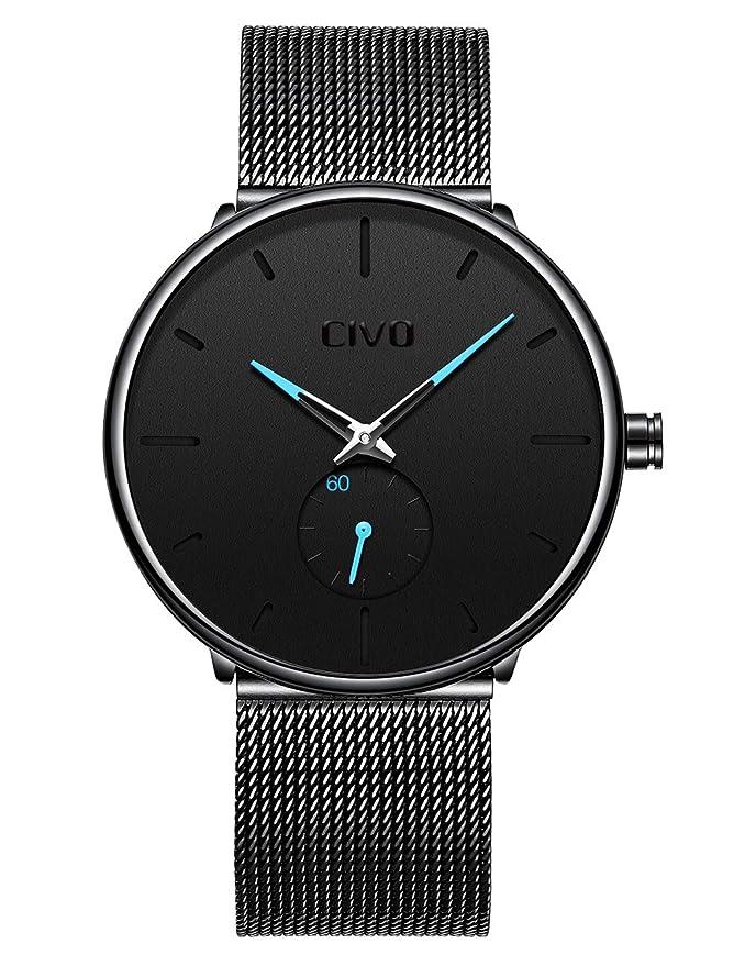 Relojes Negros para Hombre Reloj de Malla Impermeable de Acero Inoxidable para Hombres Reloj Elegante de Diseño Simple Cuarzo Analógico Relojes Hombres de ...