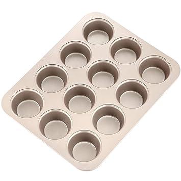Molde para magdalenas de acero de carbono resistente con 12 orificios, antiadherente, para hornear