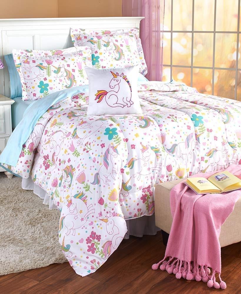 Fairy Tale Rainbow Unicorns Girls Full/Queen Comforter, Shams & Toss Pillow (4 Piece Bedding Set) + HOMEMADE WAX MELTS