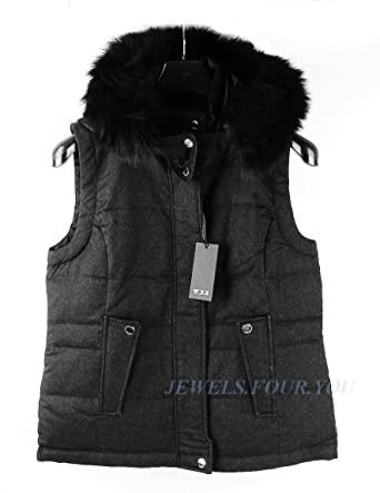 Tumi Modena Cashmere Blend Down Reversible Vest Jacket Real Fox ...