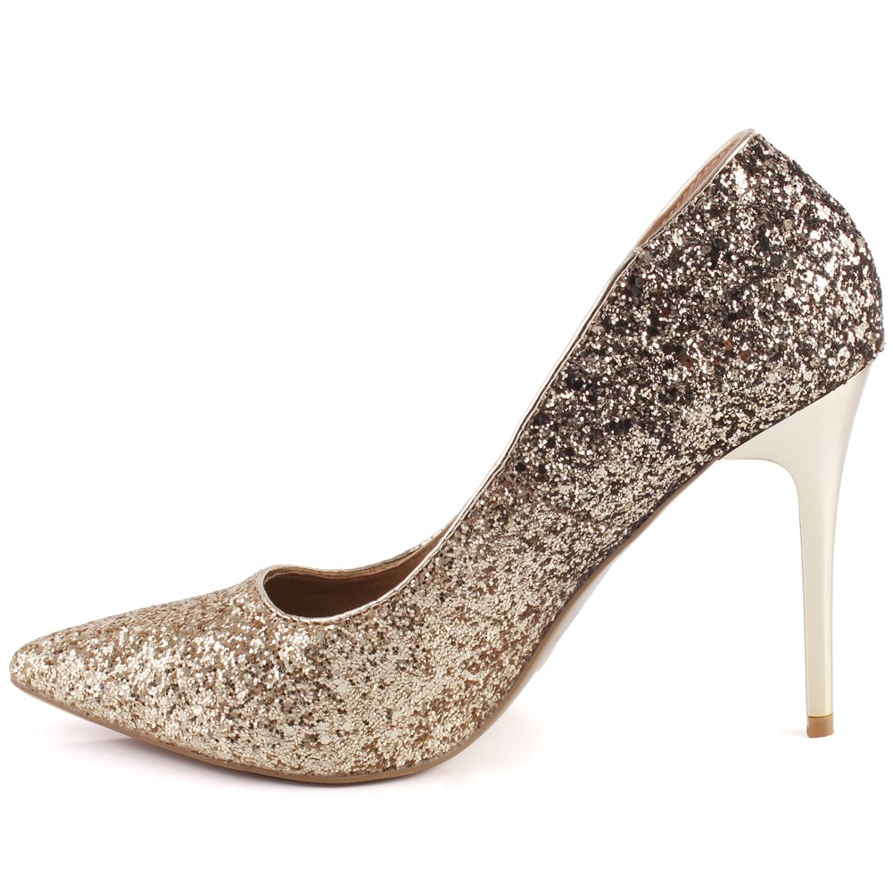 """9e6b54be99c Unze Women """"Daralea"""" Decorated Glitter Party Mid High Wedding Formal Closed  Toe Heel Shimmer Courts UK ..."""