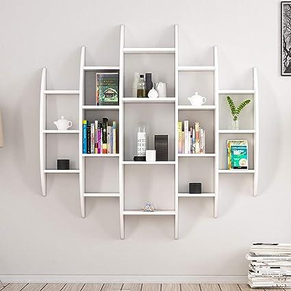 Homemania - Biblioteca Alvino Blanco, 100% aglomerado, mobiliario hogar de diseño. para salón, Oficina, Dormitorio, estantería, mostrador, Libros, ...