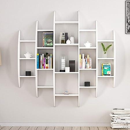 Home mania libreria alvino, legno, bianco, 146x29x147 cm 8681285948755
