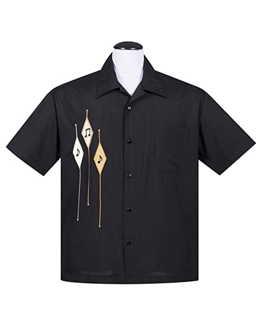 1950s Men's Clothing Steady Diamond Note Button Up In Black Mens Shirt Retro Inspired $59.99 AT vintagedancer.com
