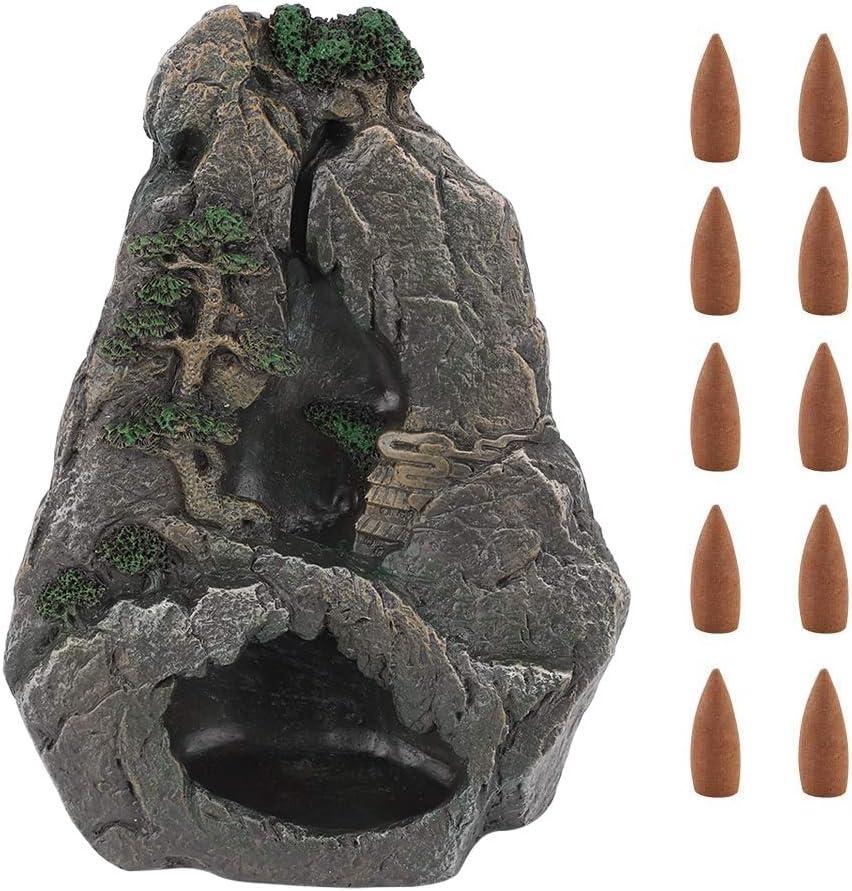 NITRIP Waterfall Mountain Tower Quemador de Incienso de Resina de reflujo Horno de s/ándalo con 10 Conos
