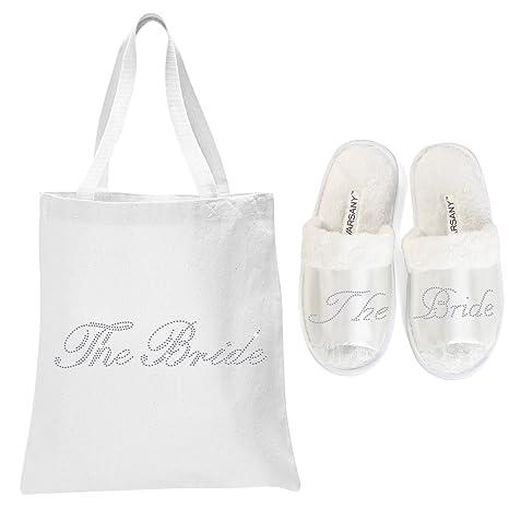 Pantuflas de punta abierta y bolsa para spa para regalo de boda Varsany, color blanco con la frase