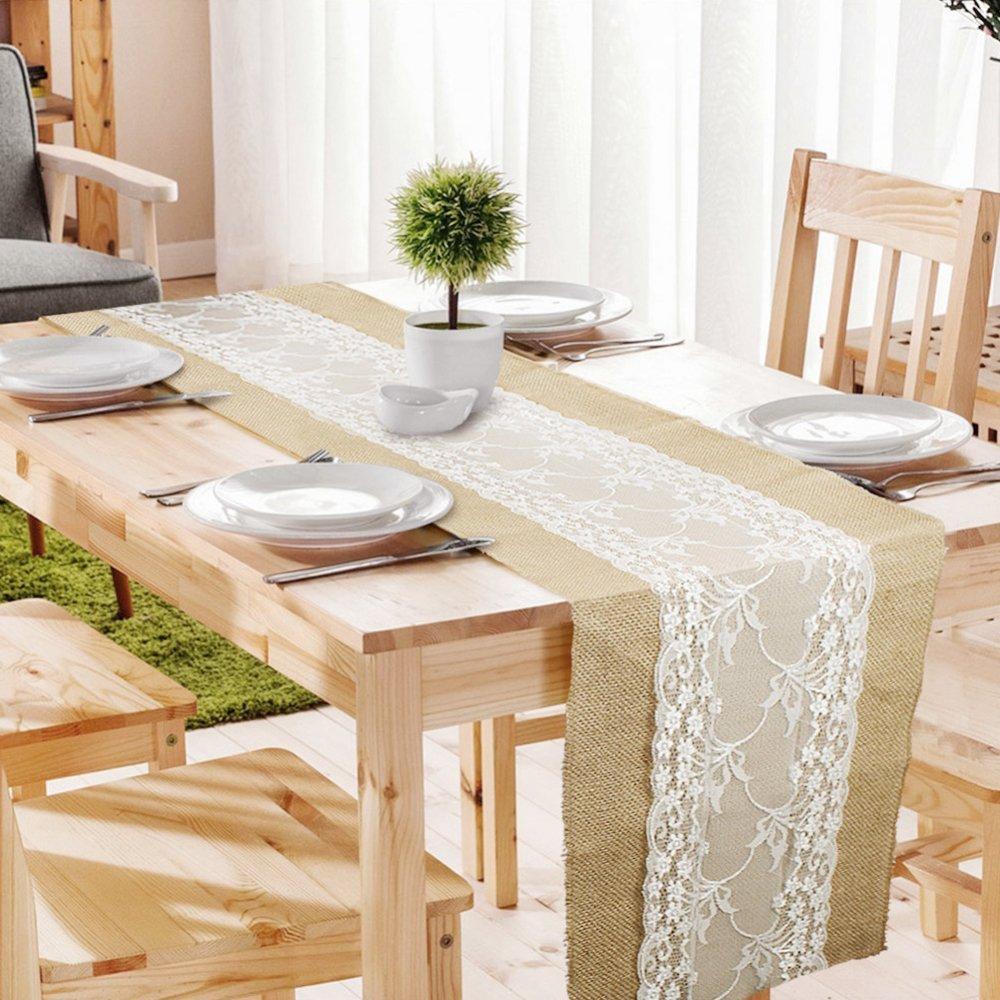 Mychoose Tischläufer mit Spitze, rustikal, Vintage, genähte genähte genähte Enden, für Hochzeit, Party, Tischdekorationen, 30 cm x 275 cm. 10 Stück 0b2d89