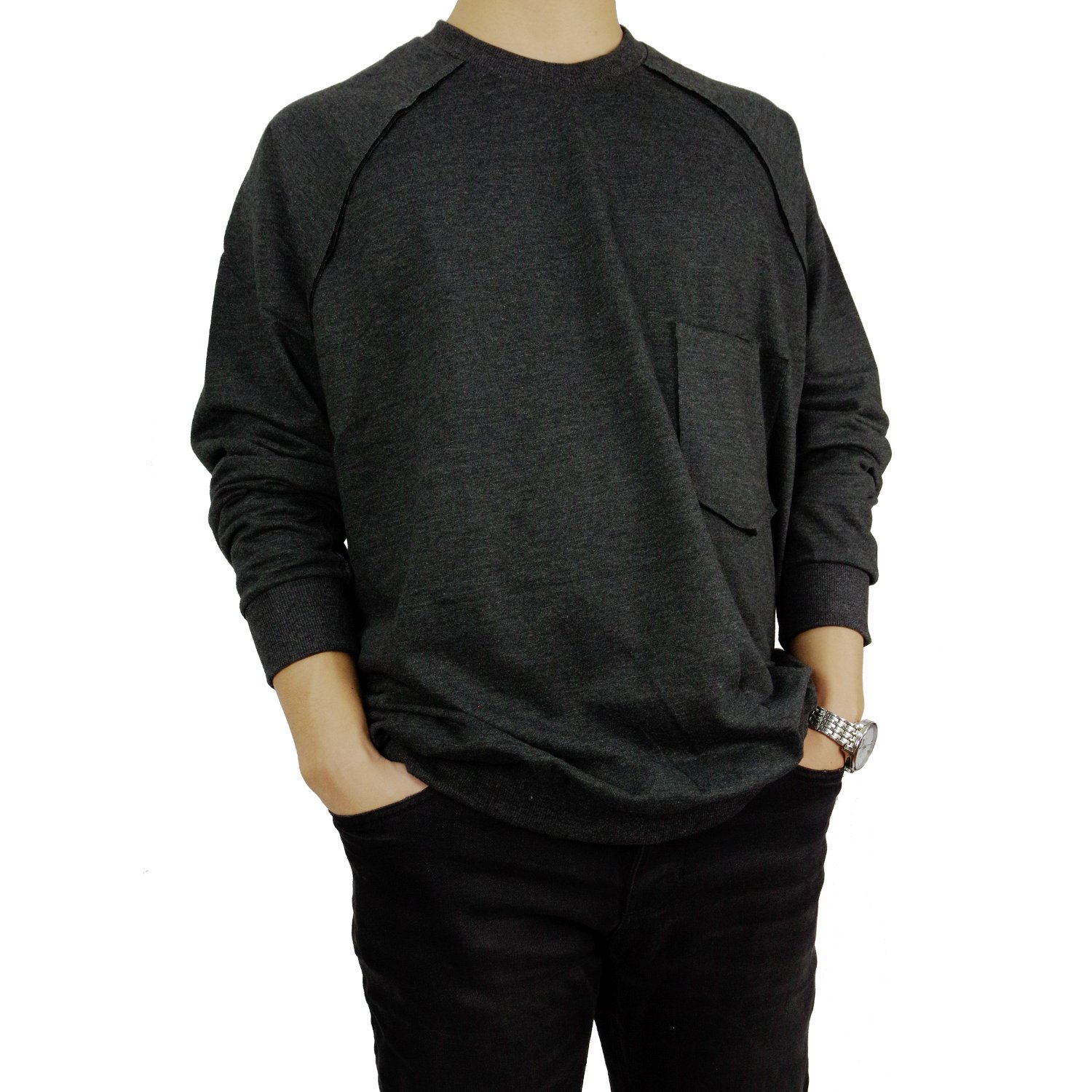 L'Essence Men's Comfy Soft Charcoal Oversized Cotton Sweater Crew Neck, LSE1154