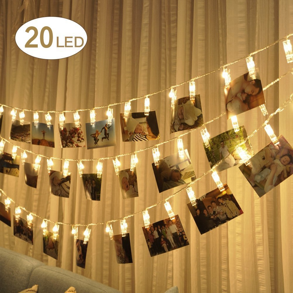 Enjoydeal led photo clip string lights20led photo clips battery powered 3m photo window hanging peg fairy string light for hanging picturenotes