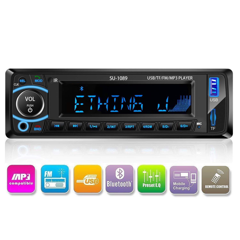 Radio de Coche, Arespark Autoradio Bluetooth Reproductor MP3 para Automóvil FM Estéreo Radio Manos Libres