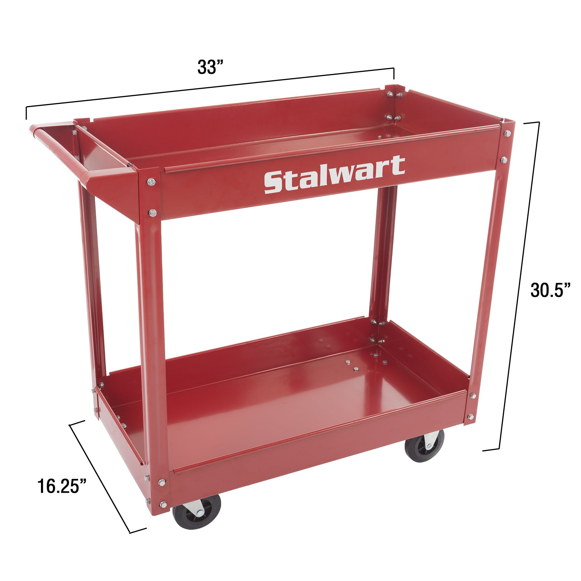 Metal Service Utility Cart, Heavy Duty Supply Cart with Two Storage Tray Shelves- 330 lbs Capacity By Stalwart (Red) by Stalwart (Image #1)