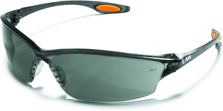 MCR LW212AF Crews Law 2 Safety Glasses Grey Frame Grey Lens Anti-Fog 1 Pair