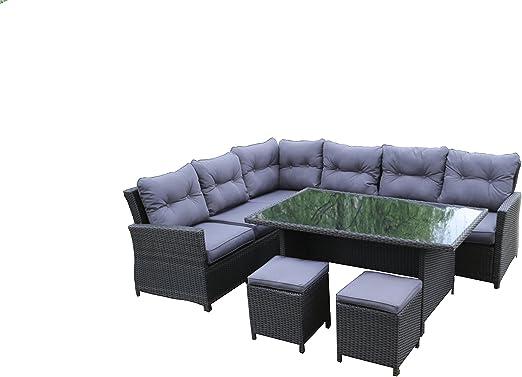 Interougehome - Salón de jardín de 8 plazas fabricado en resina trenzada y con estructura de aluminio - Mobiliario de jardín con canapé, taburetes y mesa de jardín en color gris: Amazon.es: Jardín