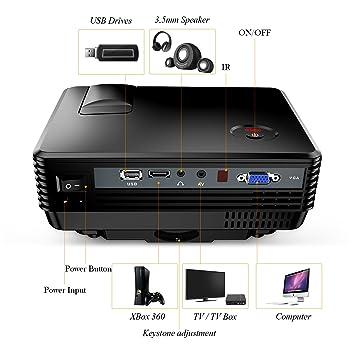 TENKER rd805 LCD Mini Projector Negro Negro: Amazon.es: Informática