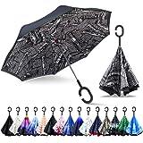 ZOMAKE Double Layer Inverted Umbrellas for Women, Reverse Folding Umbrella Windproof UV Protection Big Straight Umbrella for