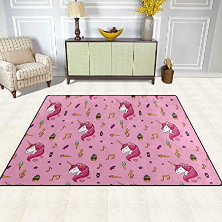 Area Rug, Unicorn Music Note Ice Cream Pink Print Carpet Designer ...