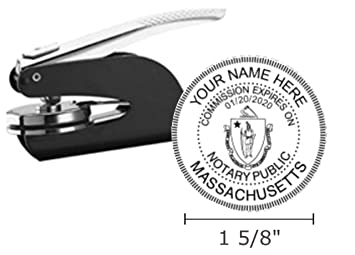 Massachusetts Notary Seal Embosser Pocket Hand Model 1 5 8quot