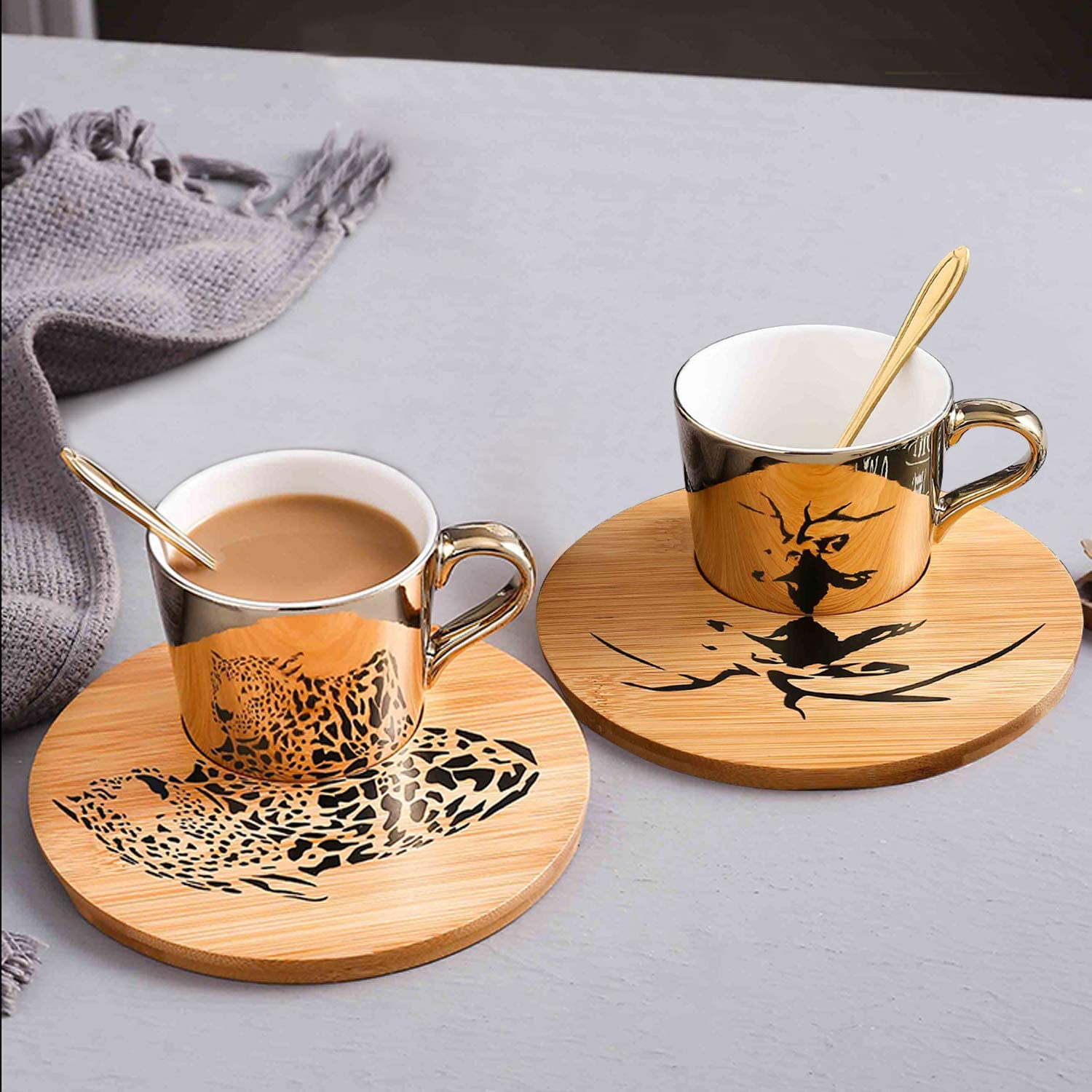 Mirror Cup and Saucer Set Cappuccino Cups Set of 2 Ceramic Gold Animal Espresso Cups with Saucers and Spoons 8 Ounce Tea Coffee Cup with Wood Saucer, Set of 2, Golden Best Gift