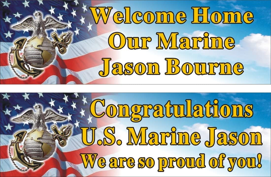 2ftX6ft Personalized Welcome Home or Congratulations US (U.S.) Marine Corps Banner Sign Poster (1 banner only)