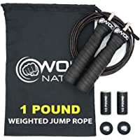 WOD Nation Weighted Jump Rope for Women & Men - 1 Pound (1LB) Adjustable Heavy Speed Jump Rope Handles with Removable…