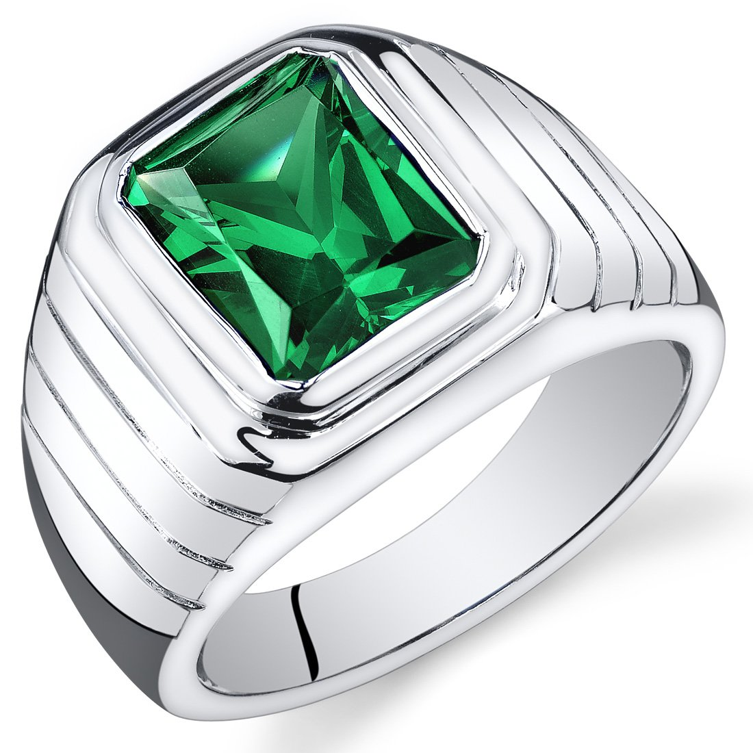 Mens 5.50 Carats Simulated Emerald Octagon Ring Sterling Silver Size 11