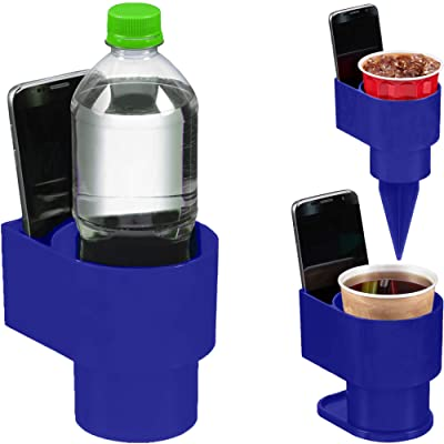 STAND-Bi Car Cup Holder Expander – Holds Phone, Drink, Water Bottle for Car, Beach, Boat or Desk - Blue: Automotive