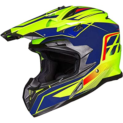 ILM Adult ATV Motocross Off-Road Street Dirt Bike Full Face Motorcycle Helmet DOT Approved MX MTV Suits Men Women (M, Yellow Blue): Automotive